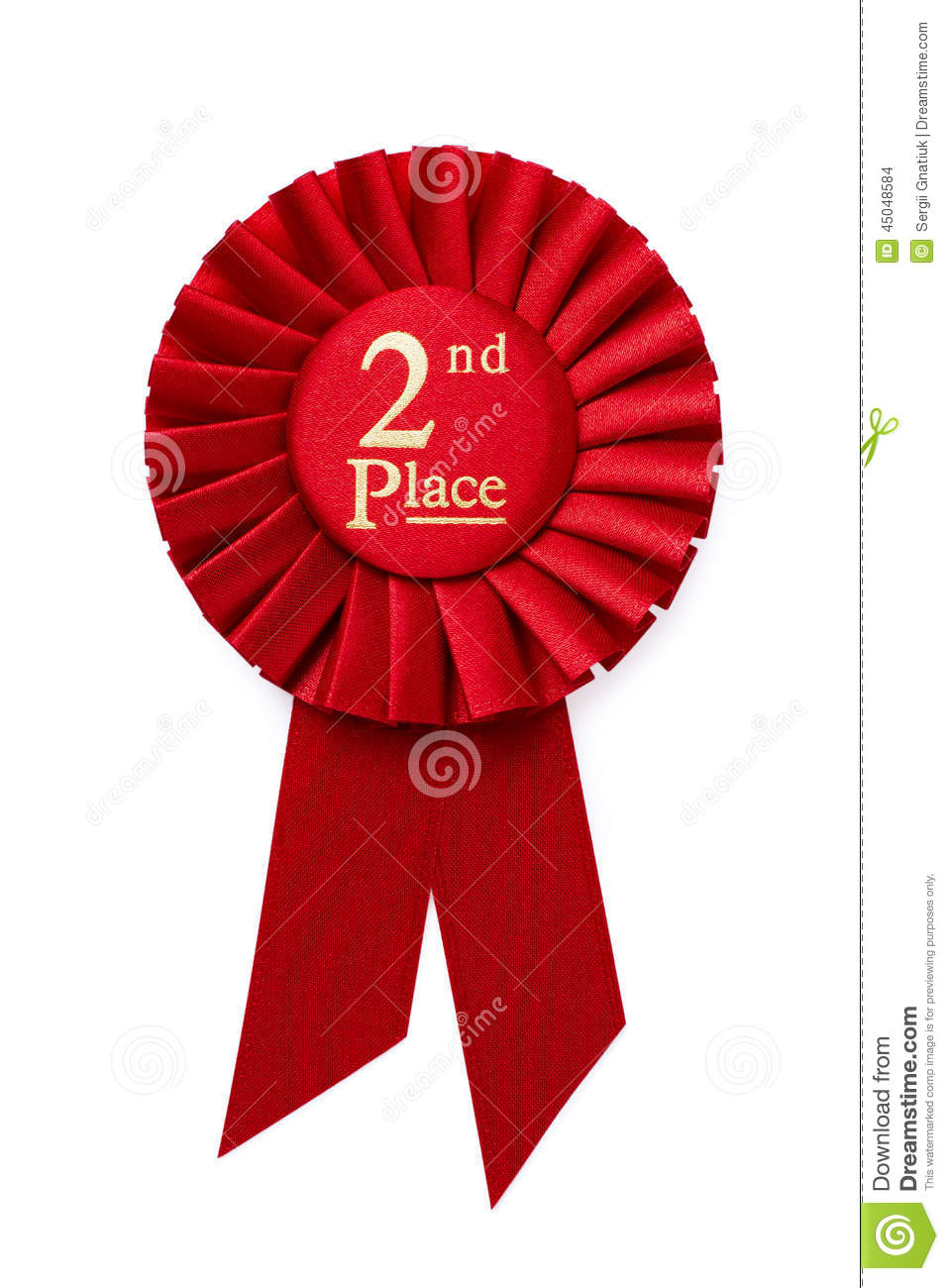 red 2nd place ribbon rosette stock photo image of winner textile