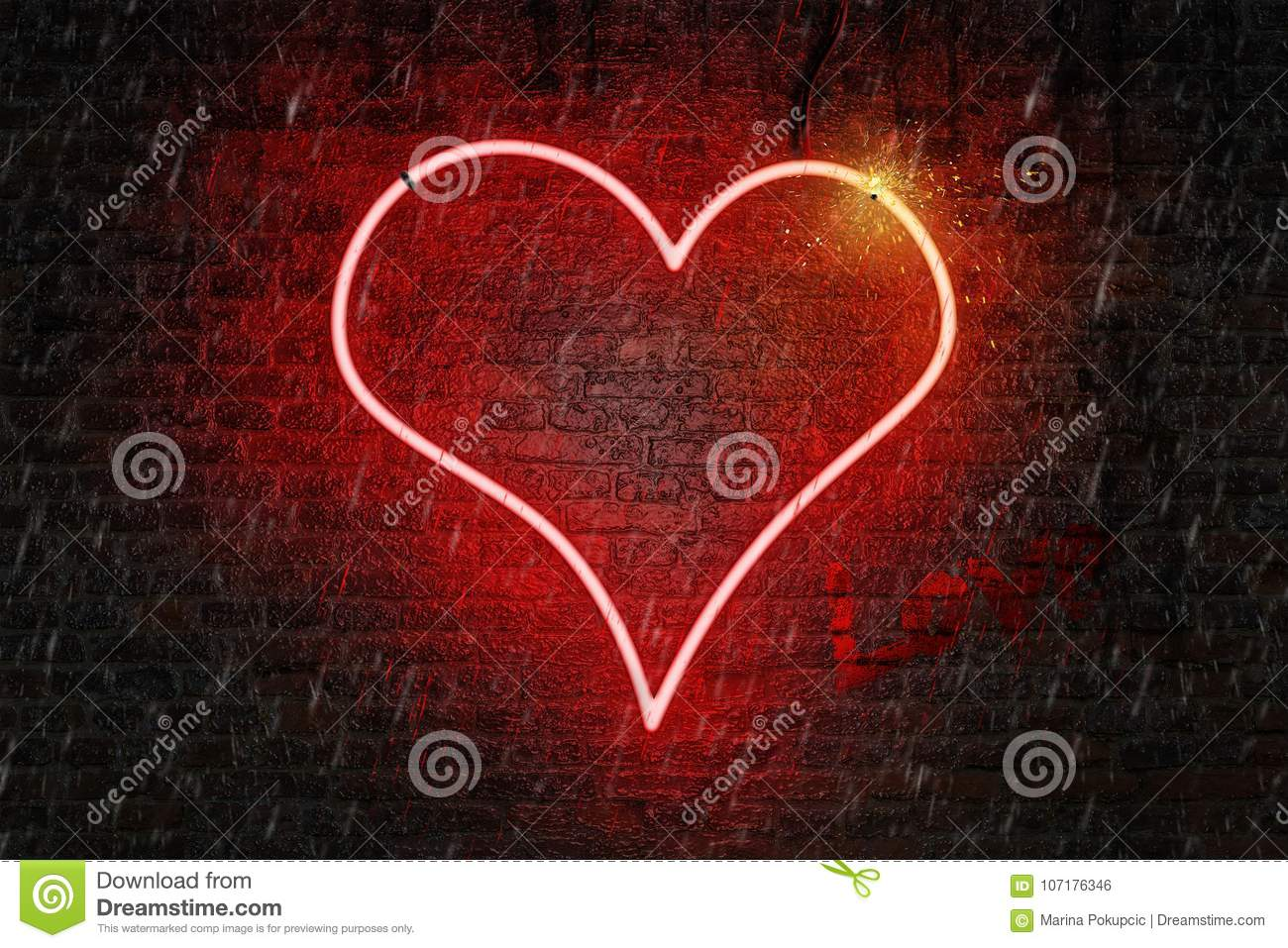 Red neon heart shaped sign on a wet brick wall