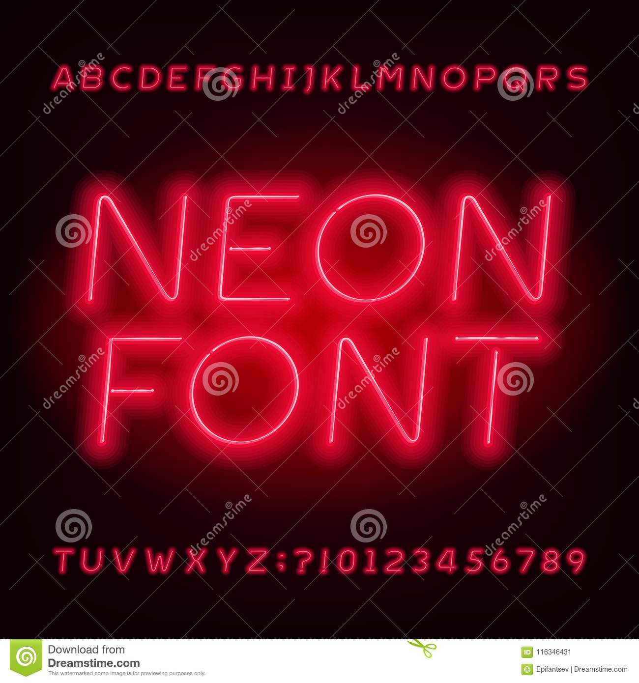 Red Neon Tube Alphabet Font  Neon Color Oblique Letters And