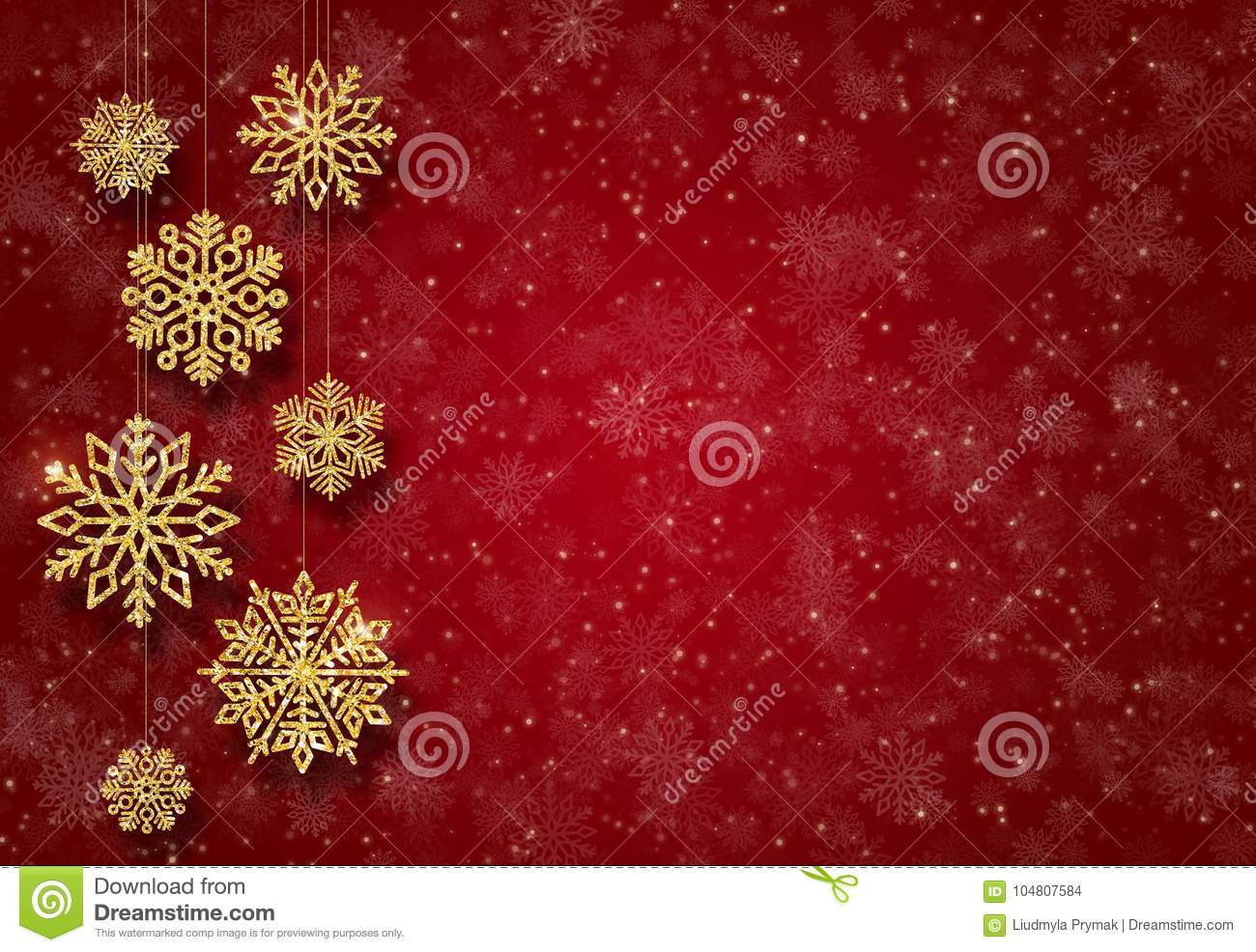 Red New Year background with gold Christmas-tree toys. Golden snowflakes.