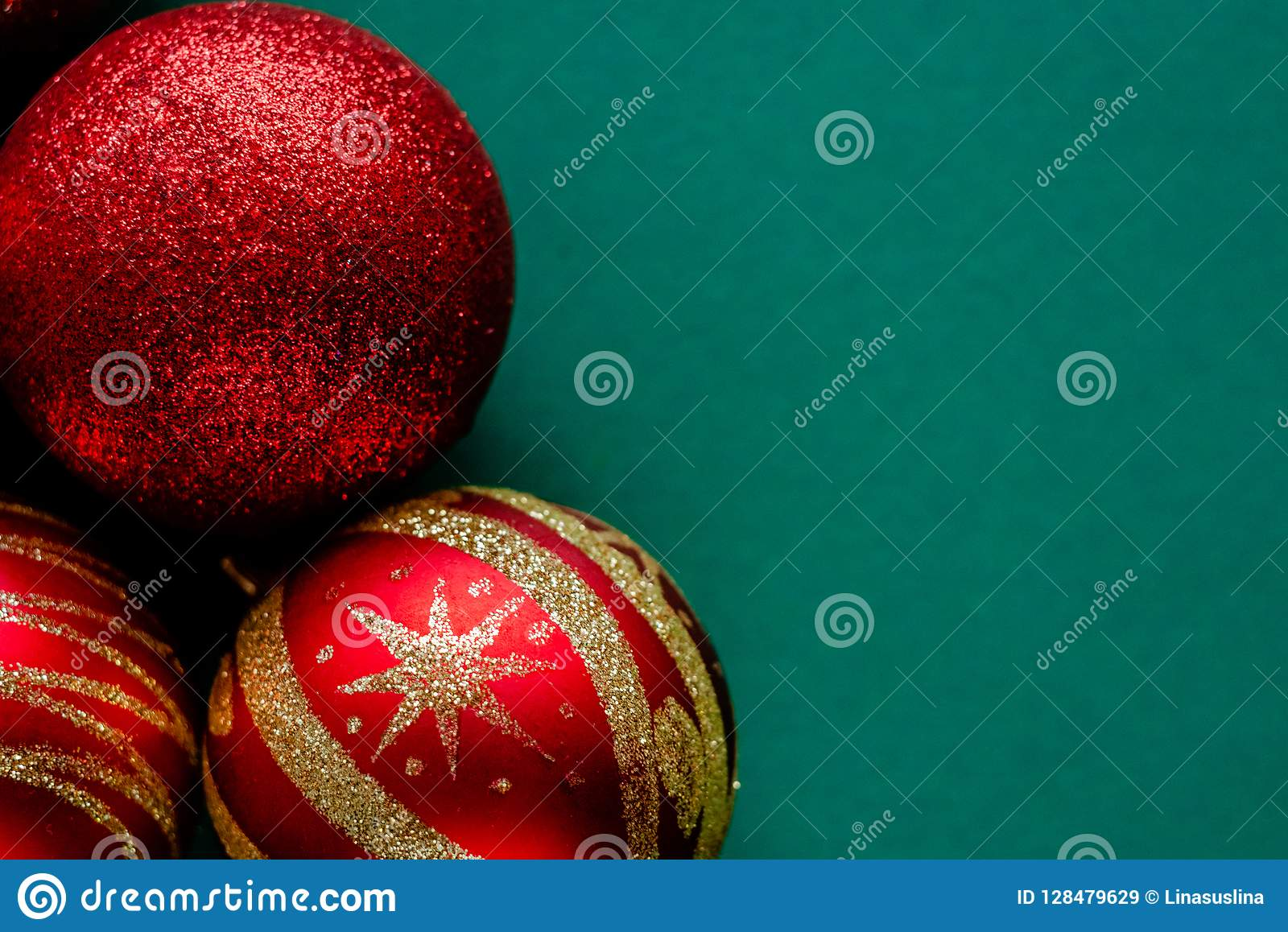 Red New Year Decorations Christmas Balls Stock Image ...