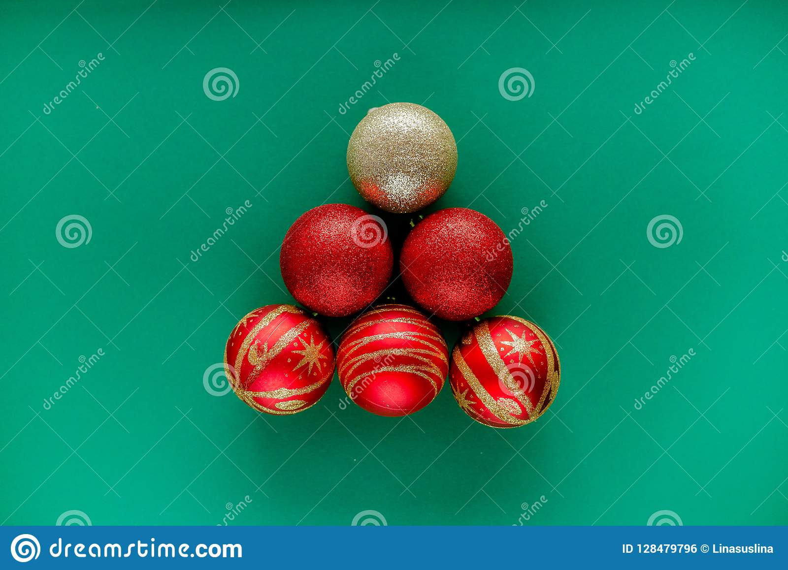 Red New Year Decorations Christmas Balls Stock Photo ...