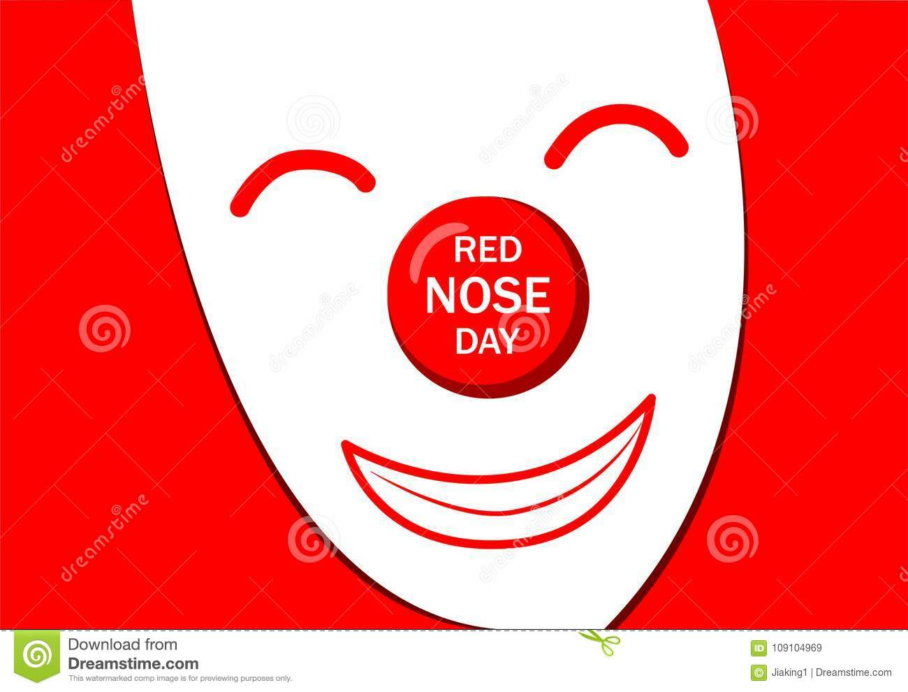 Red Nose Day Greeting Card With White Joker Mask Stock Vector