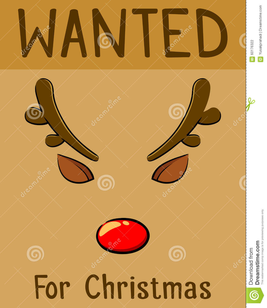 Red Nose Reindeer Wanted For Christmas Poster Stock Vector - Image ...
