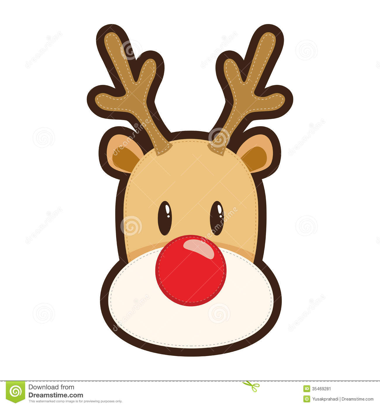 Red nosed reindeer stock vector illustration of antlers for Rudolph the red nosed reindeer template
