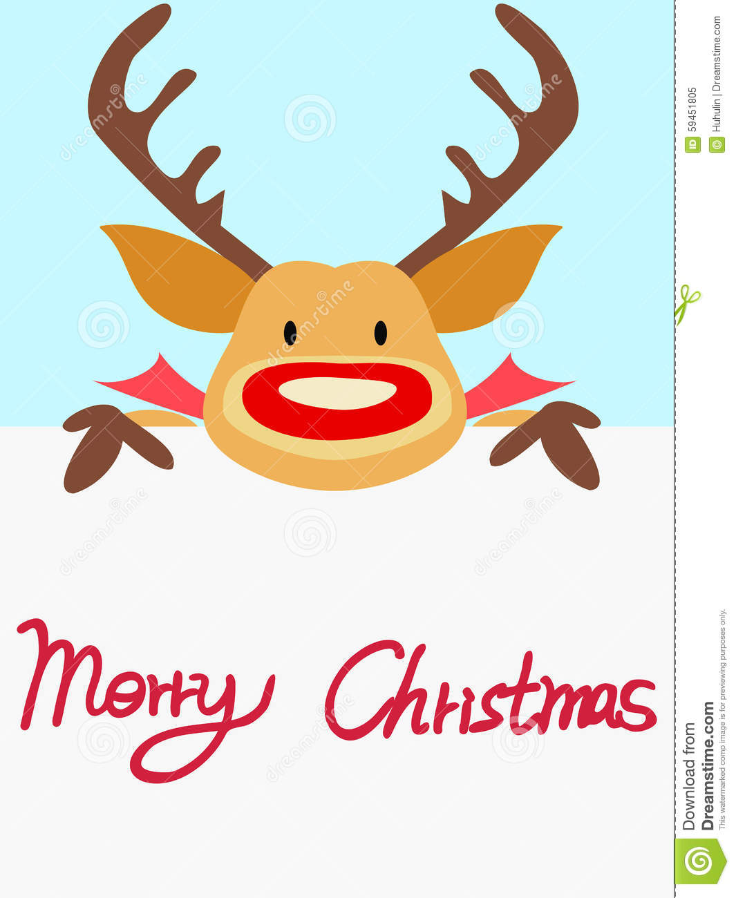 Red Nosed Reindeer Christmas Card With Handwritten Words – Words for Christmas Card