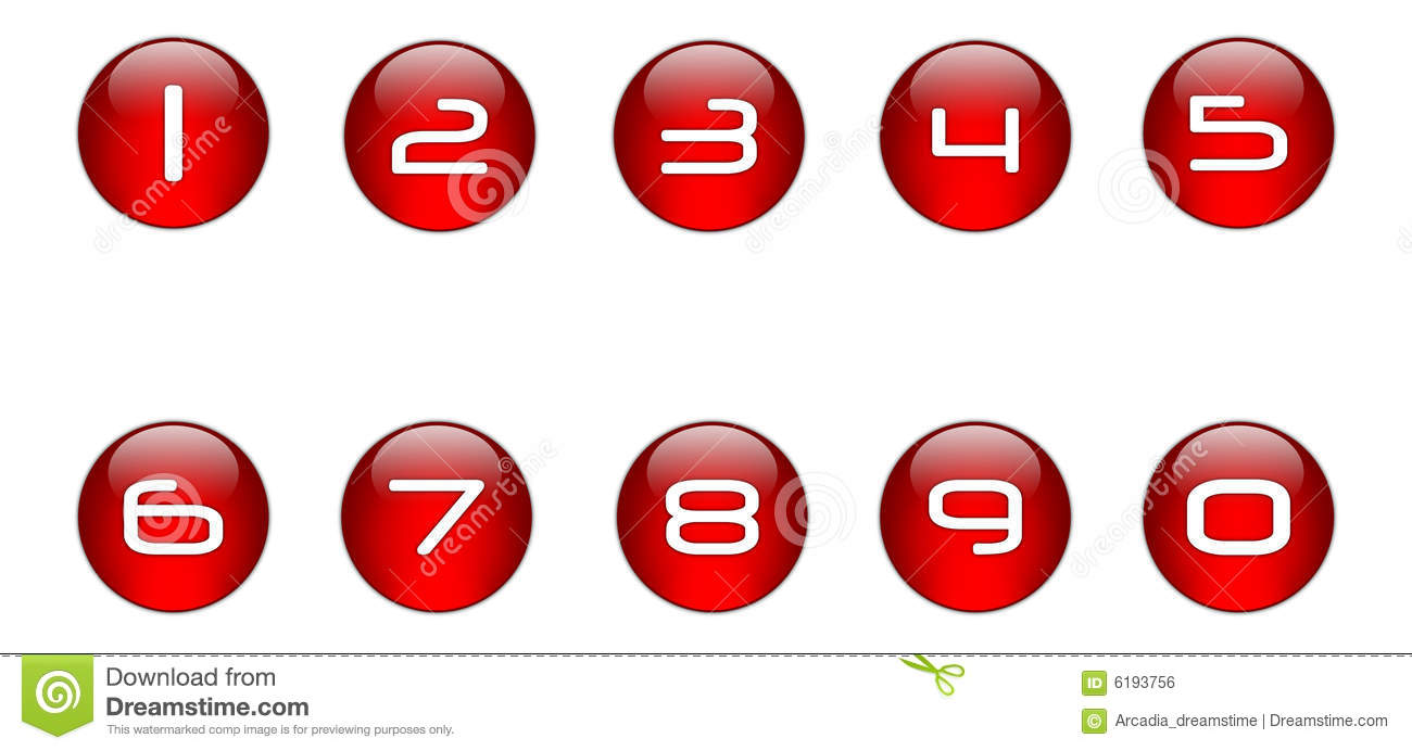 Red Numbers Icons Set  01  Stock Illustration