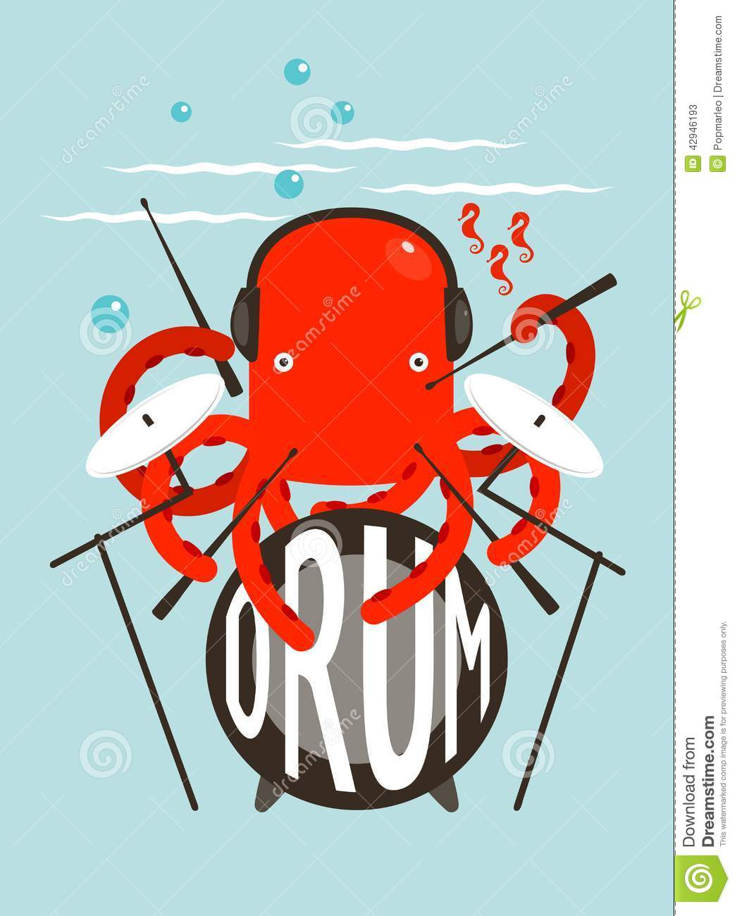 red octopus playing drums stock vector illustration of fish 42946193. Black Bedroom Furniture Sets. Home Design Ideas