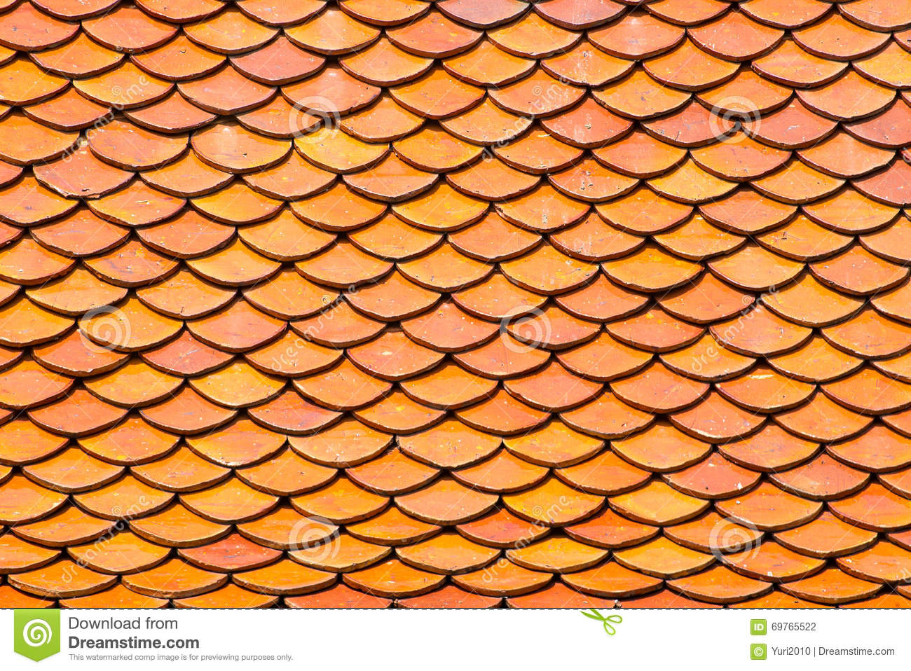 Red Old Clay Tile Roof Texture Abstract Background Stock