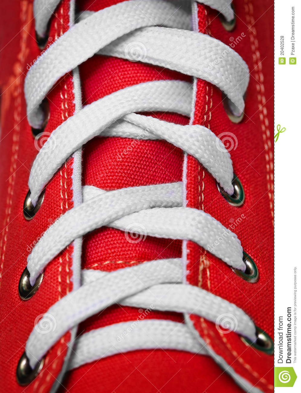 Red old-fashioned gym shoe - lacing