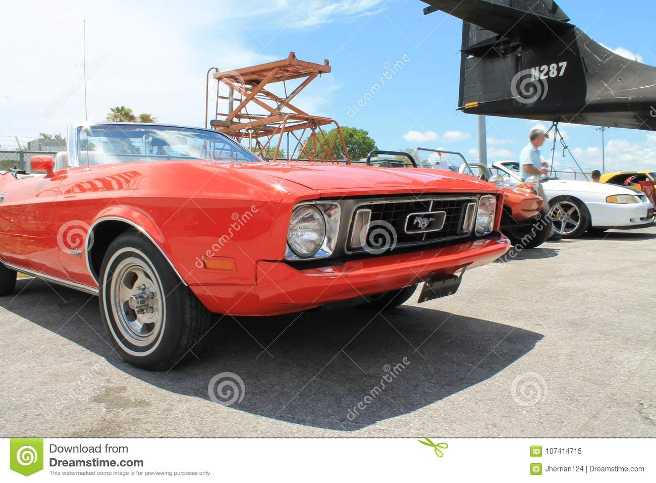 Red Old Ford Mustang Convertible Editorial Image - Image of mustang ...