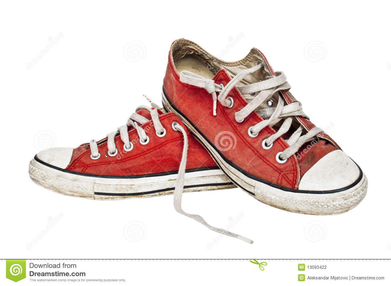Red Old Retro Sneakers Stock Photo Image Of Laces Canvas