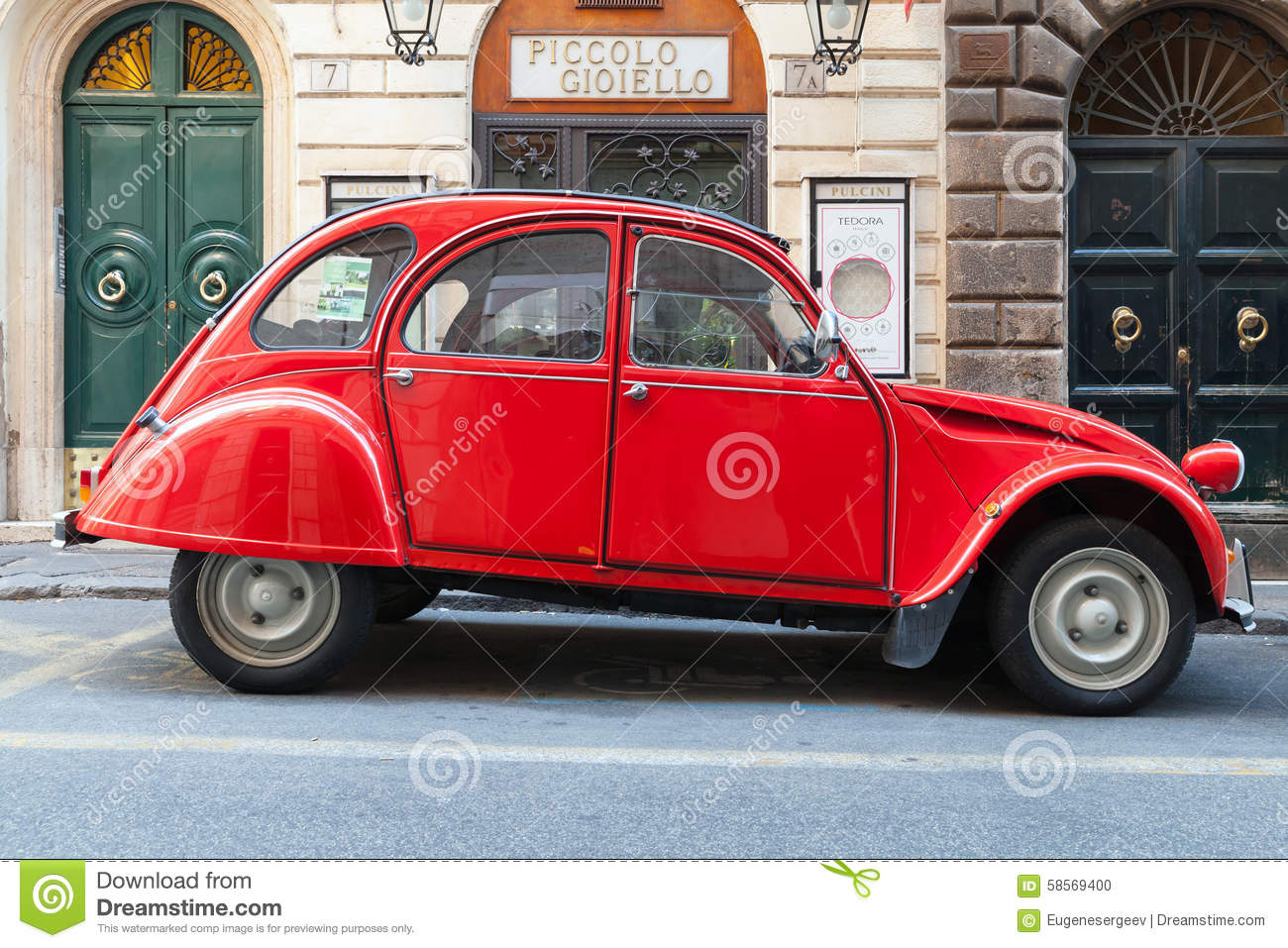 red oltimer citroen 2cv6 special car  side view editorial image