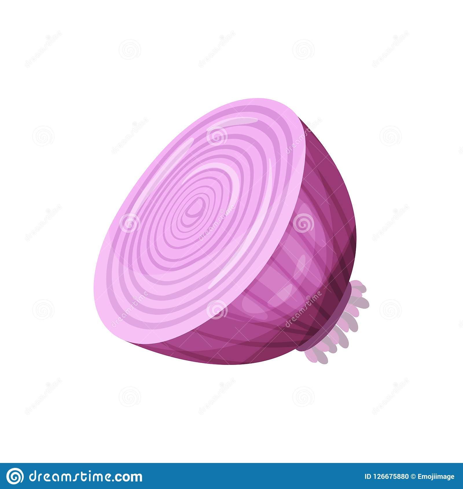 Red Onion, Fresh Vegetable Vector Illustration On A White ...