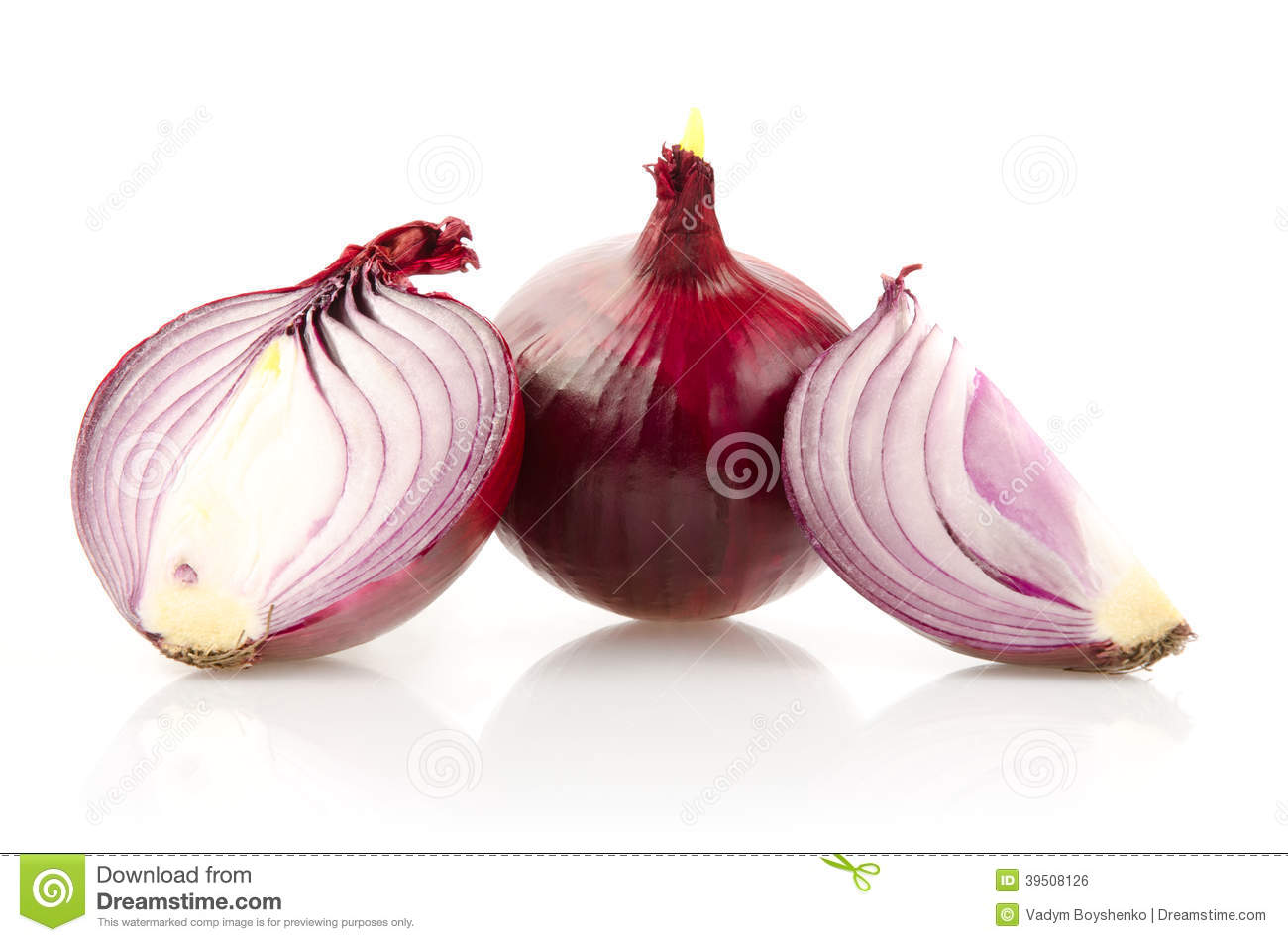 Red Onion with Half on White Background