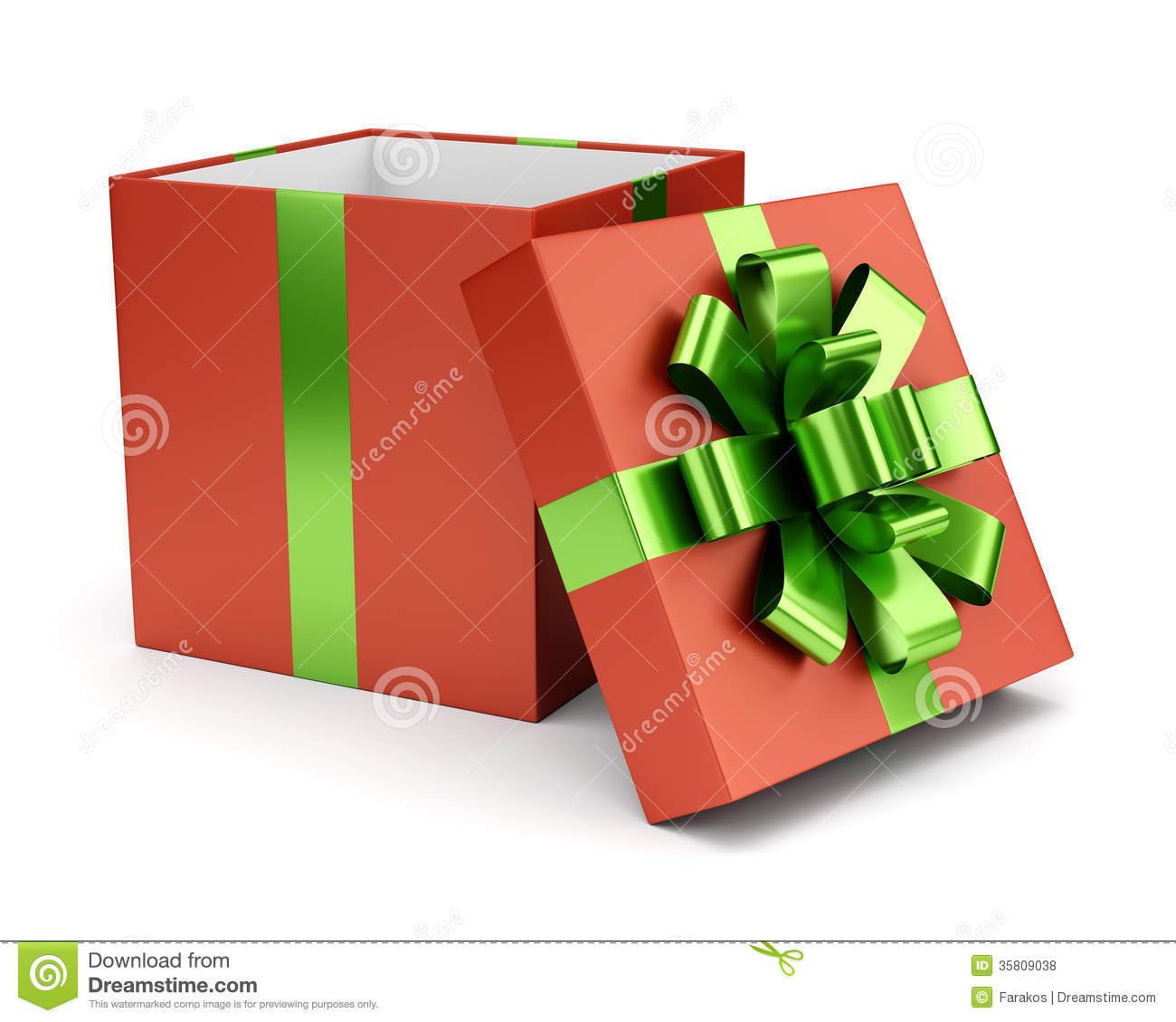 Red Open Gift Box Isolated On White Stock Illustration