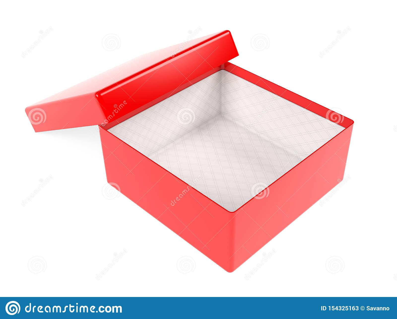 Red Open Gift Box Realistic Carton Mock Up 3d Rendering