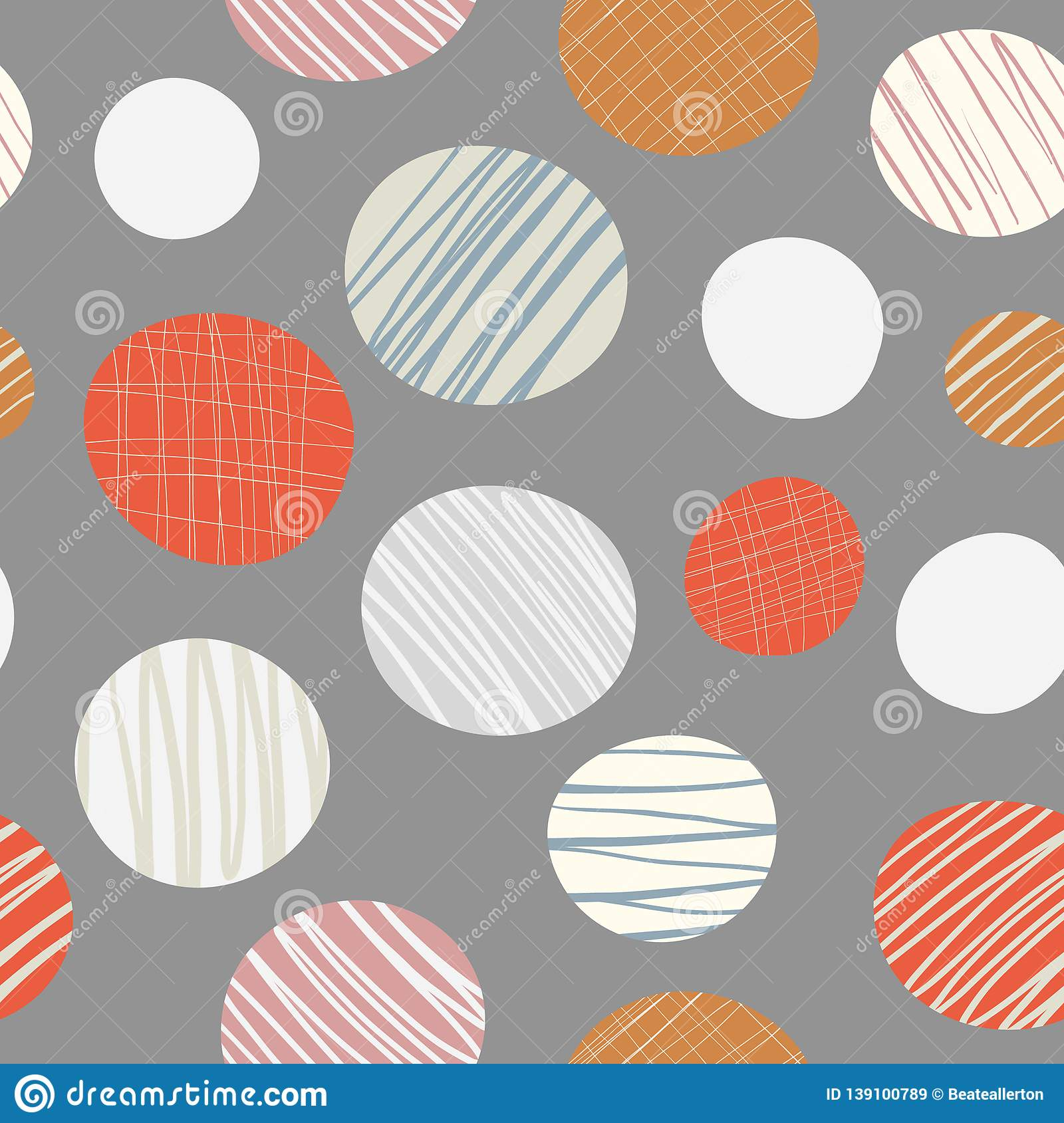 Red, orange, cream hand drawn circles seamless vector pattern on neutral brown background. Stylish contemporary design