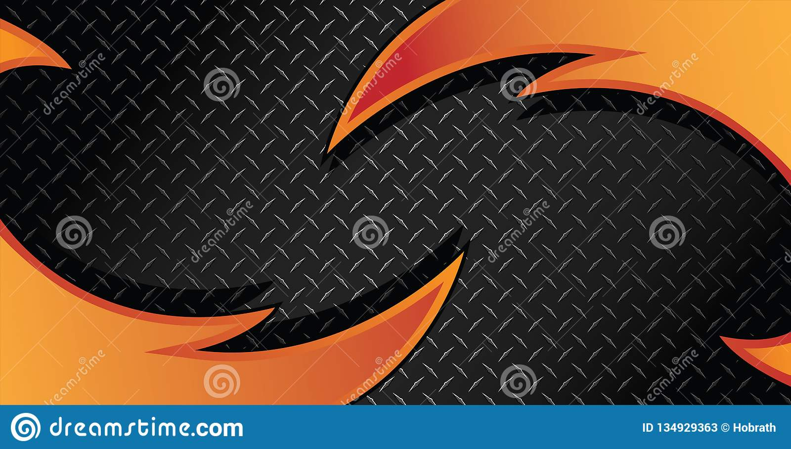 Red Orange Fire Razor Diamond Plate Textured Vector Background Illustration