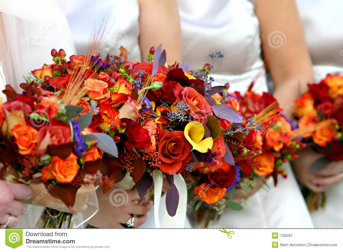 Red And Orange Flower Bouquet Stock Image Image Of Bouquet Happy