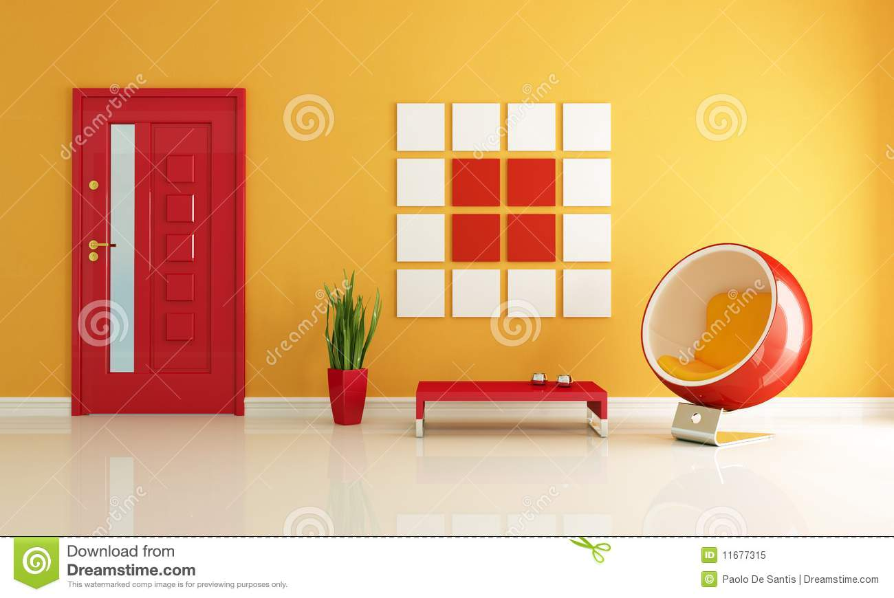 Red And Orange Home Entry Foyer Stock Illustration - Illustration of ...