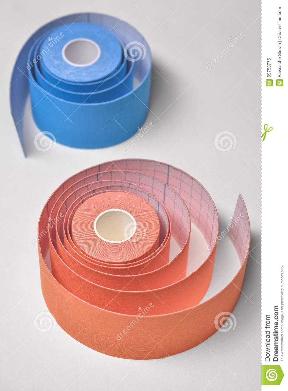 red and orange kinesio tape rolling stock image image of gray