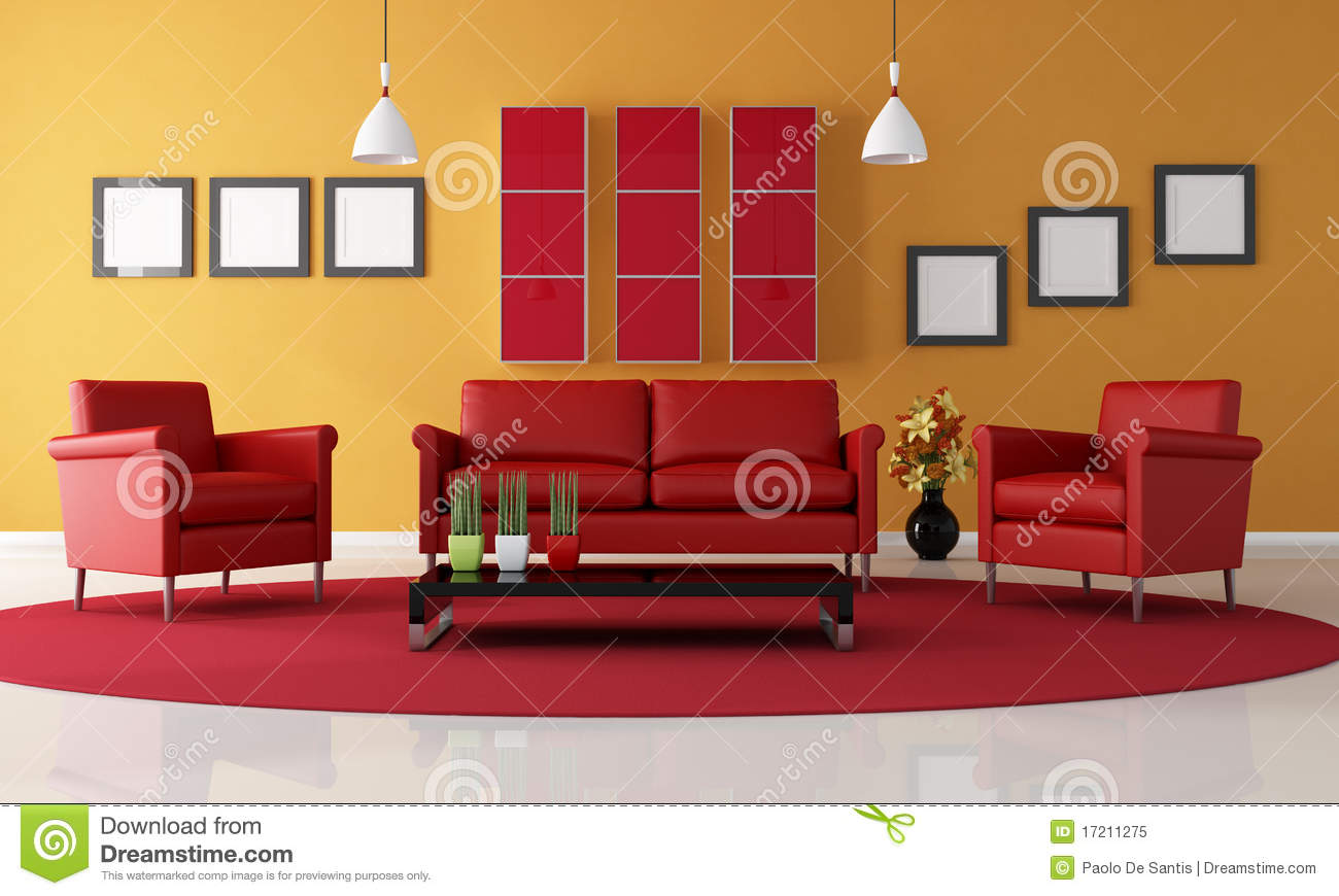 Red And Orange Living Room Royalty Free Stock Photo Image 17211275