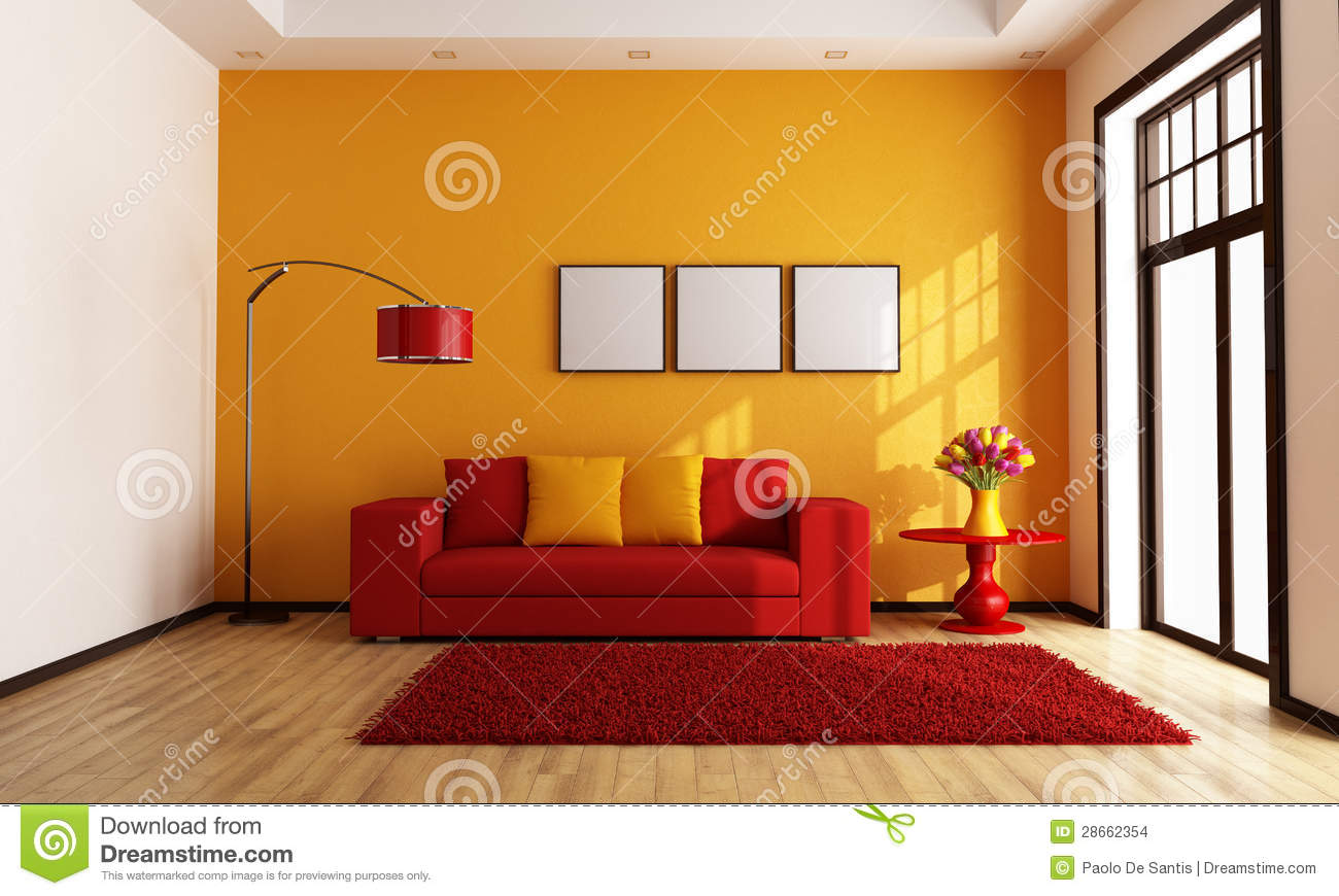 Red And Orange Living Room Stock Images Image 28662354