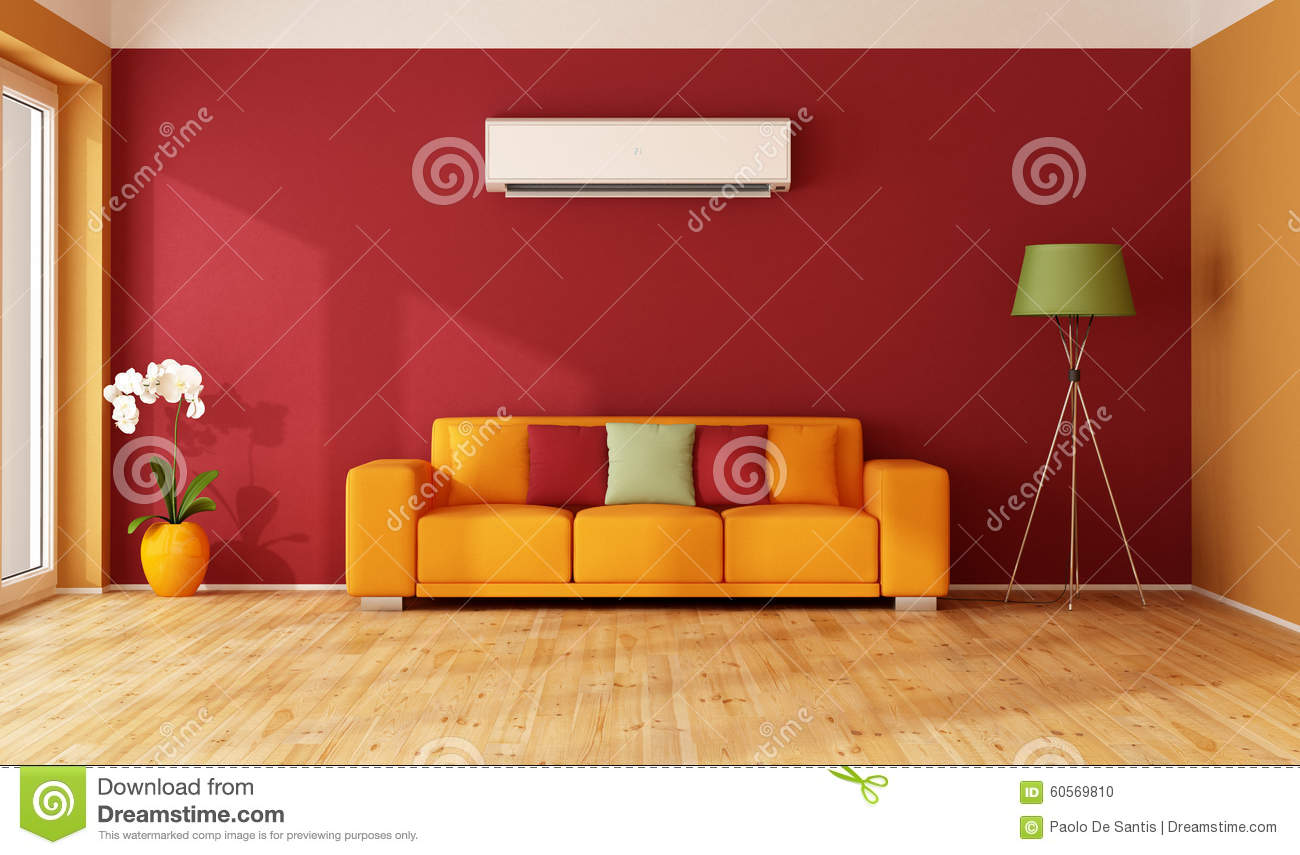 Red and orange living room stock illustration. Illustration ...