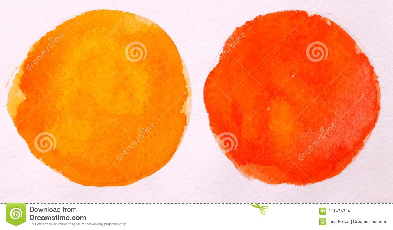 red and orange round circle abstract watercolor on white background