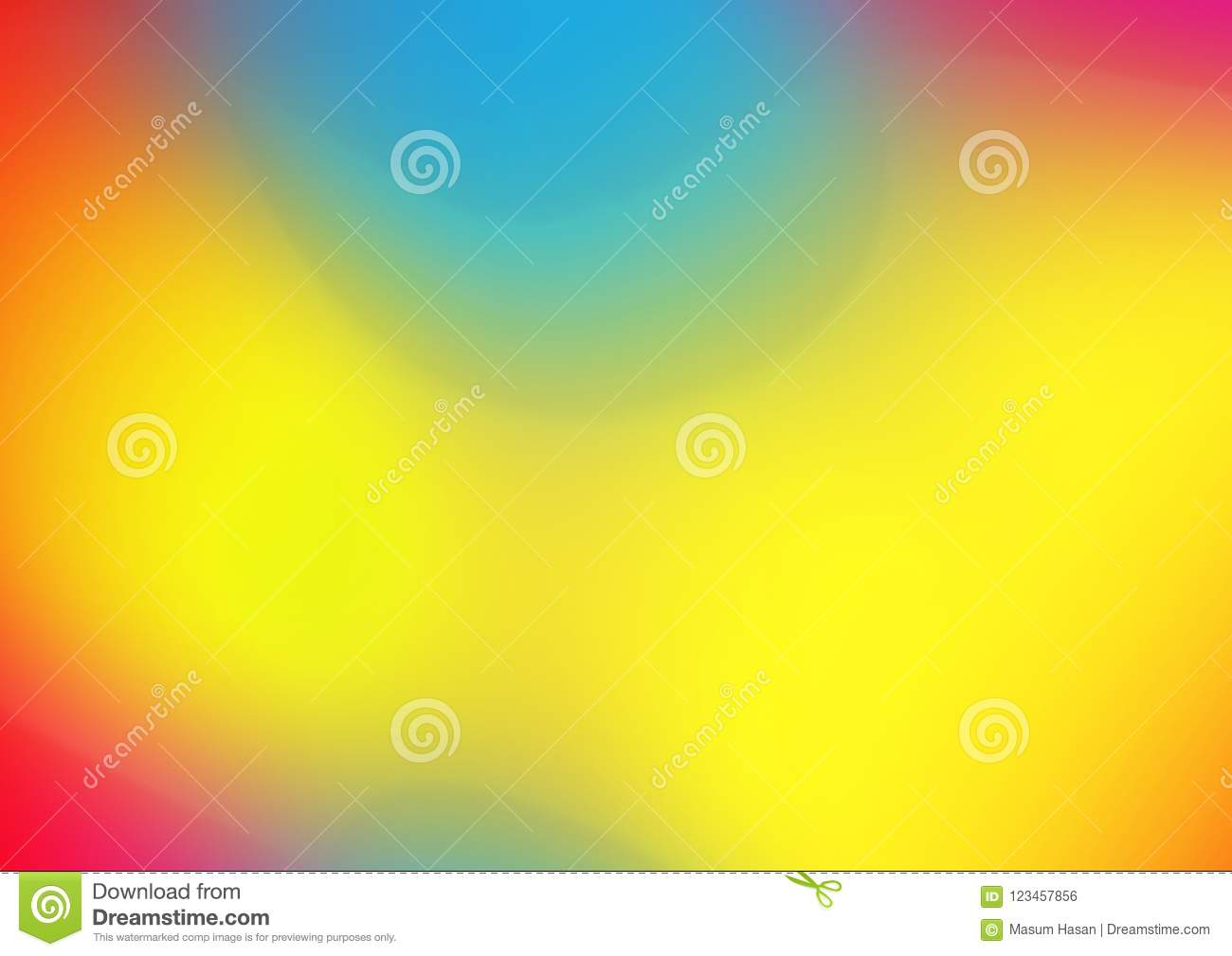 Red orange yellow blue bright gradient colorful horizontal banner watercolor texture background.