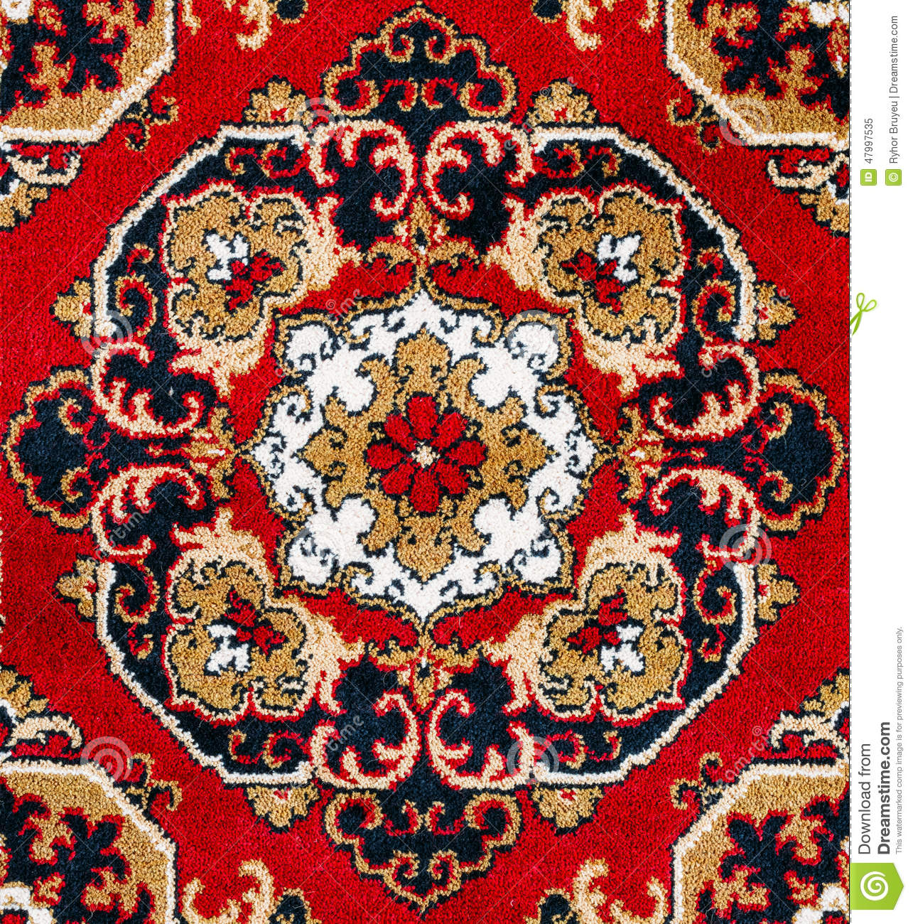 Red Oriental Carpet Texture Background Stock Photo Image
