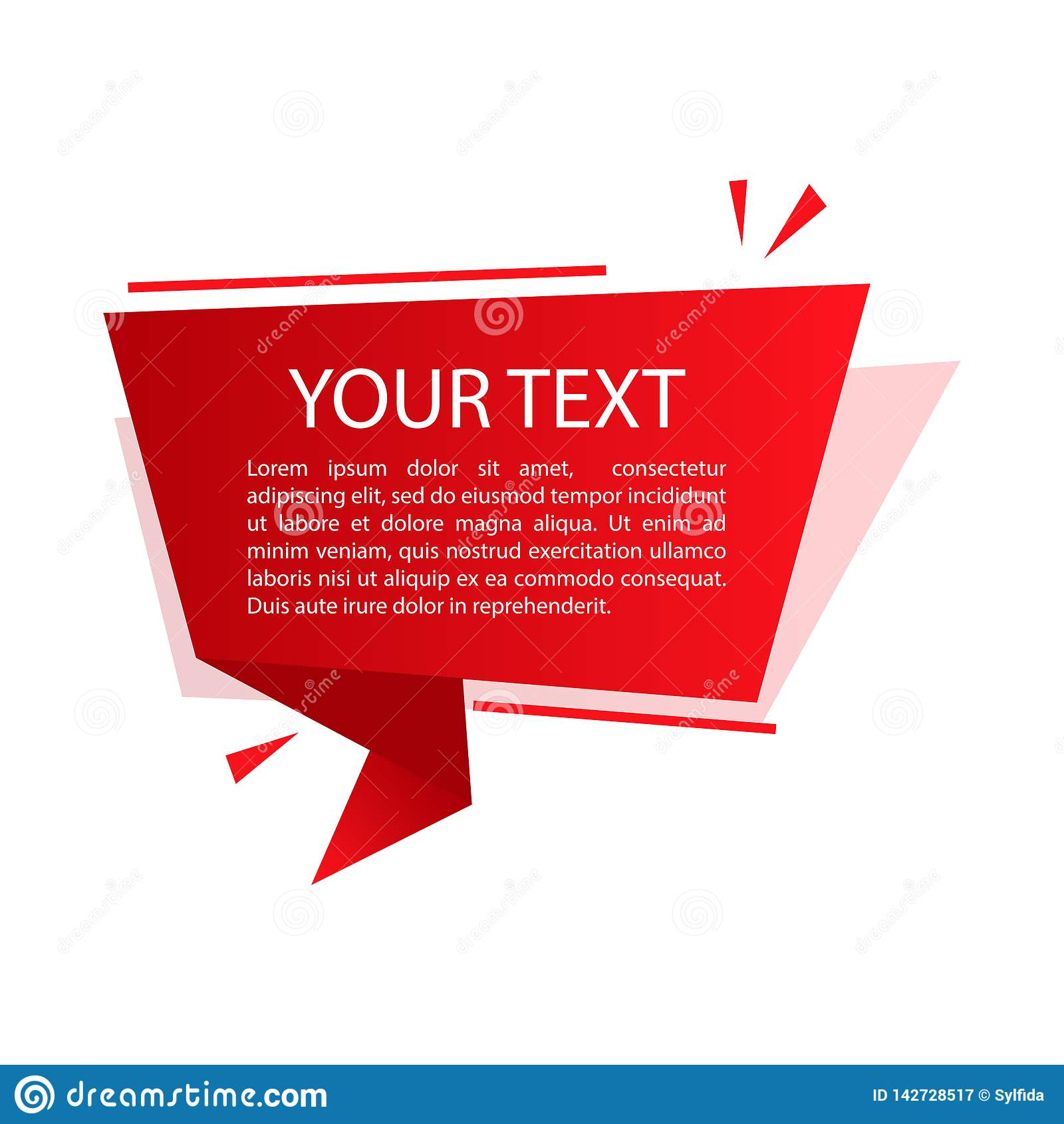 Red origami banner. Text box for presentation or promotion. Vector illustration. Red origami banner for your text. Text box for presentation or promotion. Vector royalty free stock photography