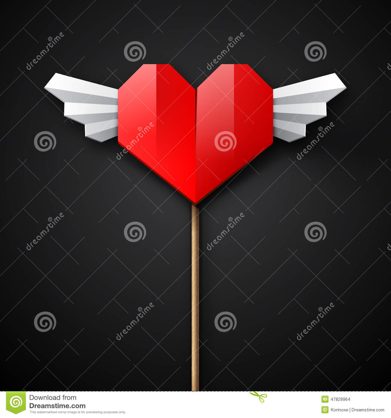 Red Origami Heart With Wings Stock Vector - Image: 47829964 - photo#40
