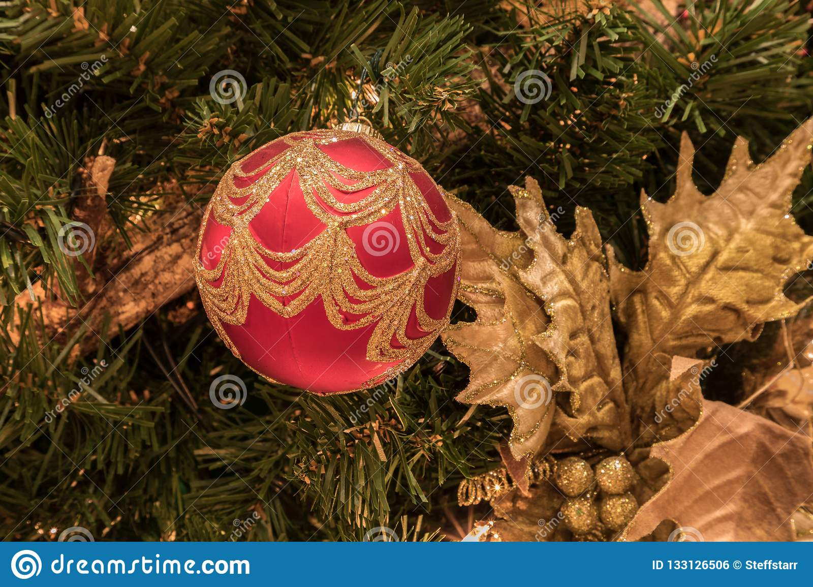 Red Ornament On A Christmas Tree With White Lights And Bows Stock Photo - Image of luxury, gift ...
