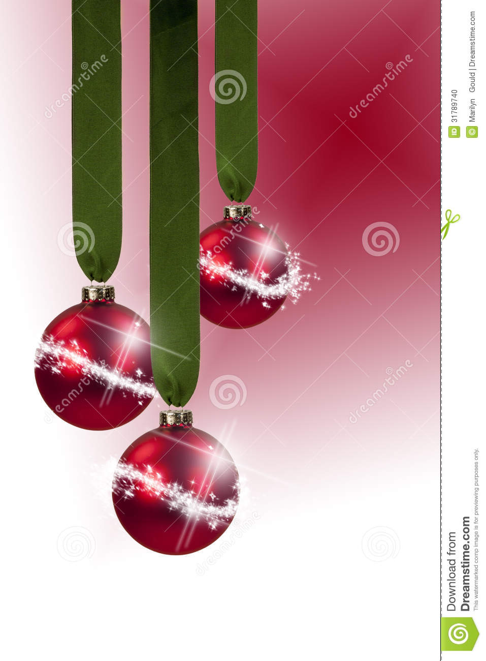 red ornament green ribbon stock photo  image of
