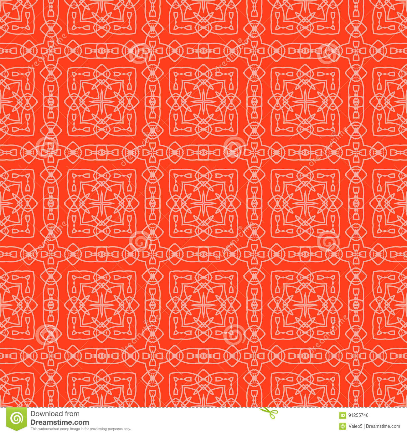 Red Ornamental Seamless Line Pattern Stock Photo - Image of