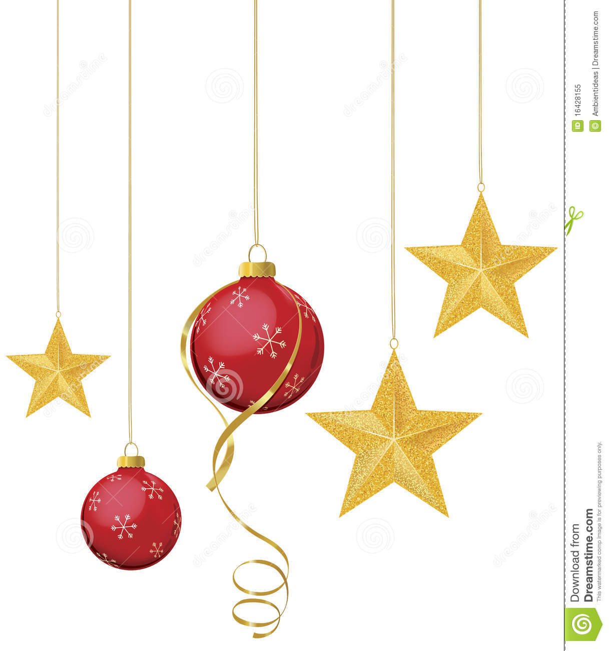 Gold and red ornaments - Red Ornaments With Gold Stars