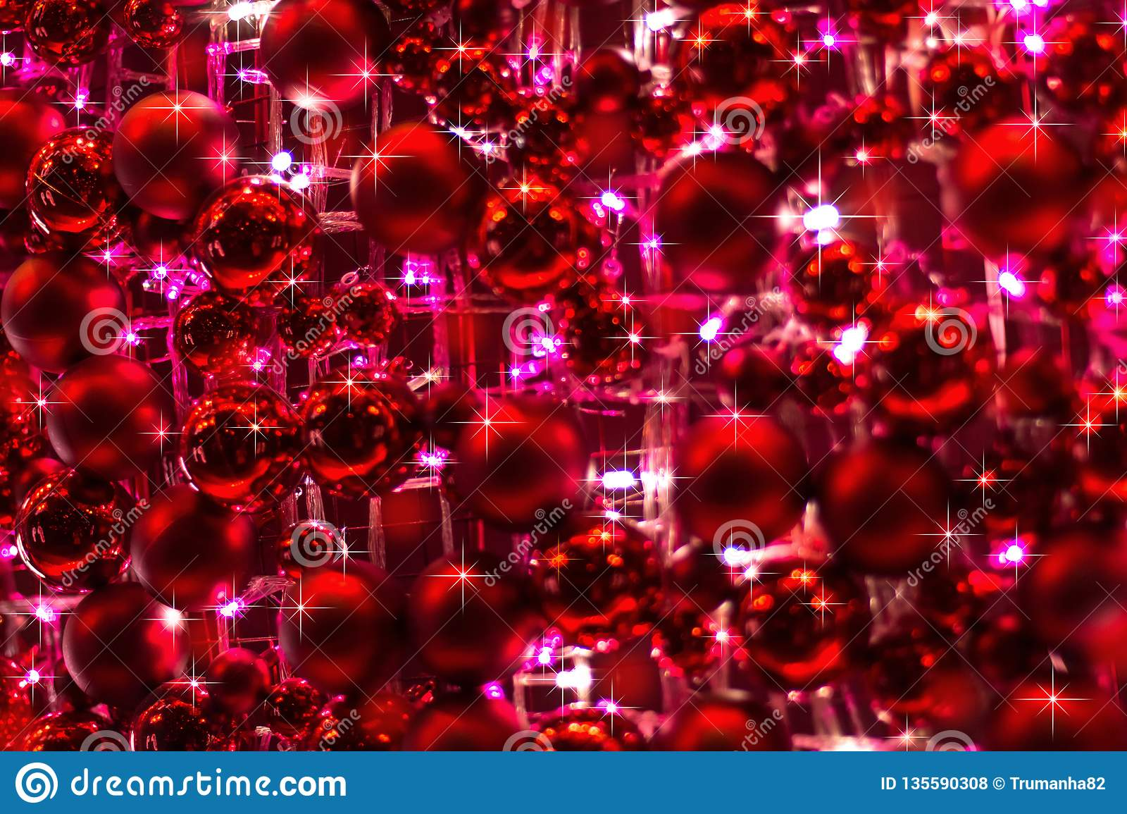 Red Ornaments and Glittery Lights of Christmas Decoration