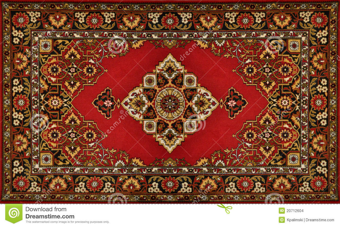 Red Ornate Traditional Carpet Texture Stock Photo Image