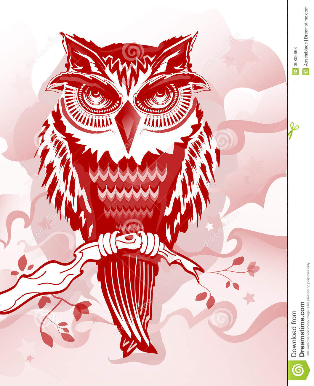 Red Owl Illustration For Flyers Books And More Stock Photos Image