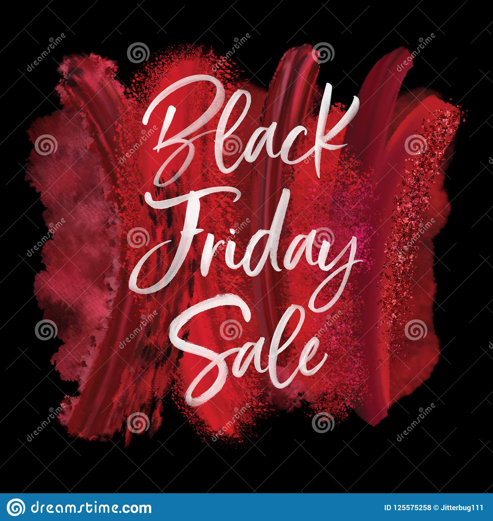 Red Paint White Black Friday Shopping Discount Sale Card Stock Illustration Illustration Of Deal Glitter 125575258