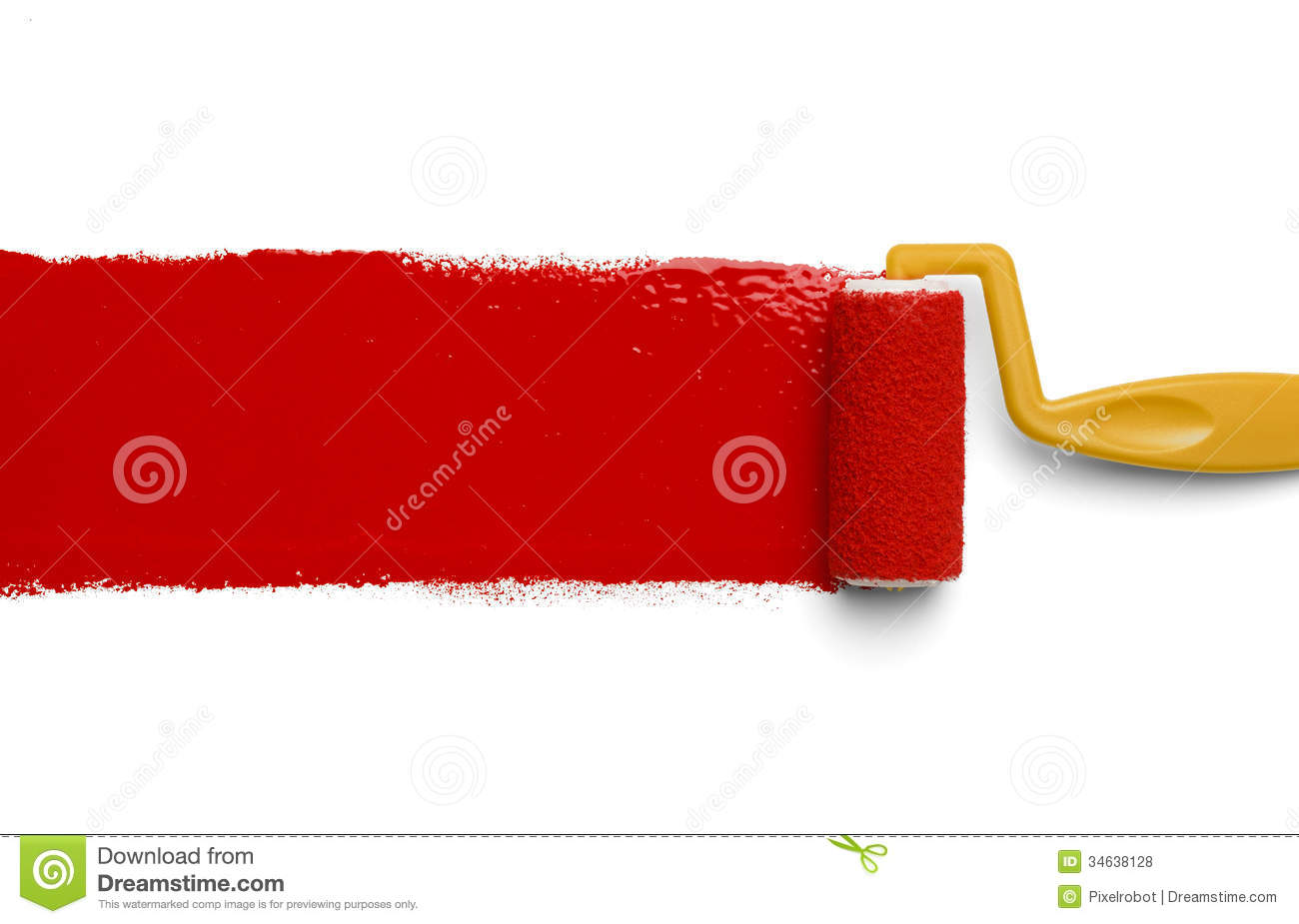 Red Paint paint roller with red paint stock photography - image: 9837272