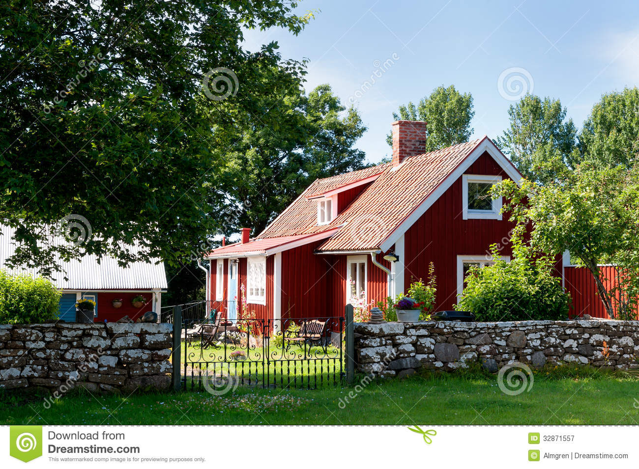 Red Painted Cottage The Island Oeland Stock Image Image