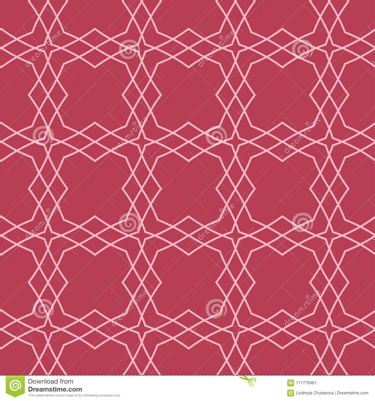 Red and pale pink geometric ornament. Seamless pattern