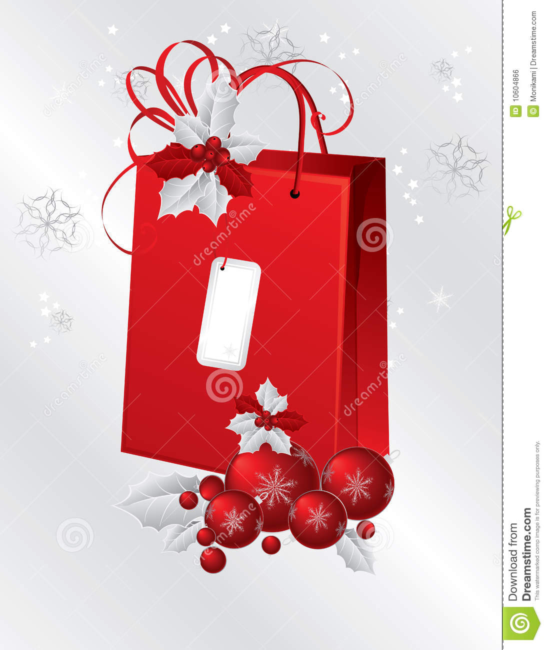 Red Paper Bag Decorated With Holly Berry Stock Illustration