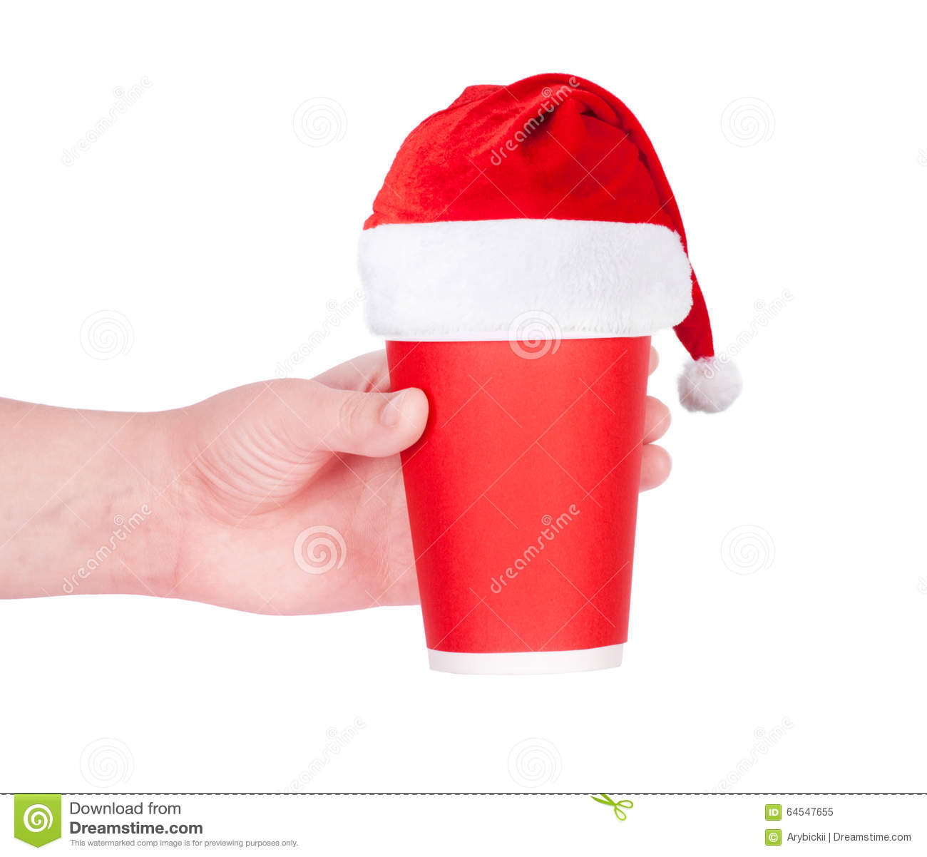 red paper coffee cup with santa hat stock image image of clear