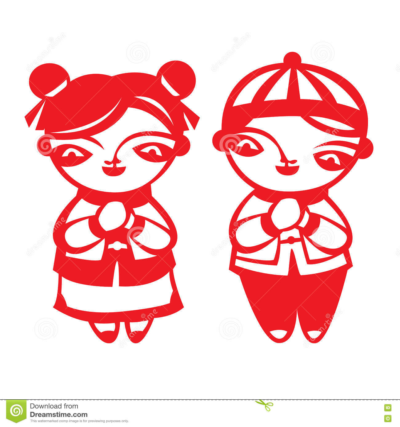 Red Paper Cut Chinese Boy And Girl Symbol Isolate On White