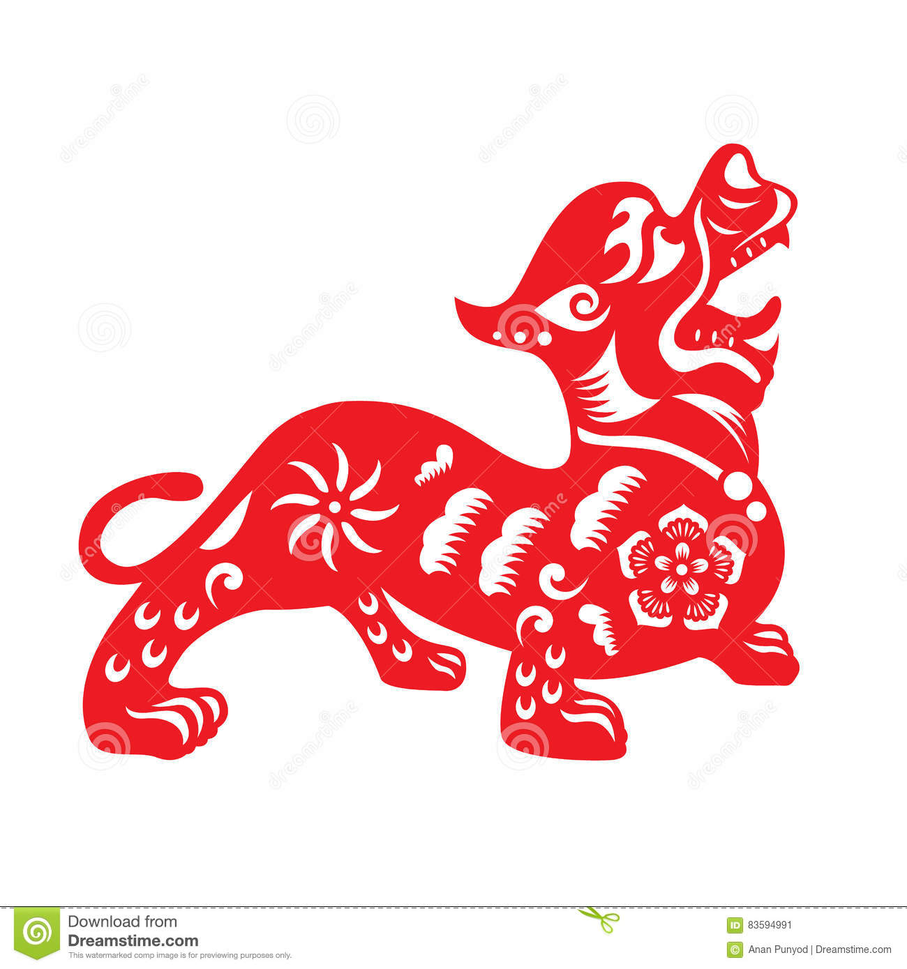Red paper cut a chinese dog zodiac and flower symbols stock vector red paper cut a chinese dog zodiac and flower symbols buycottarizona