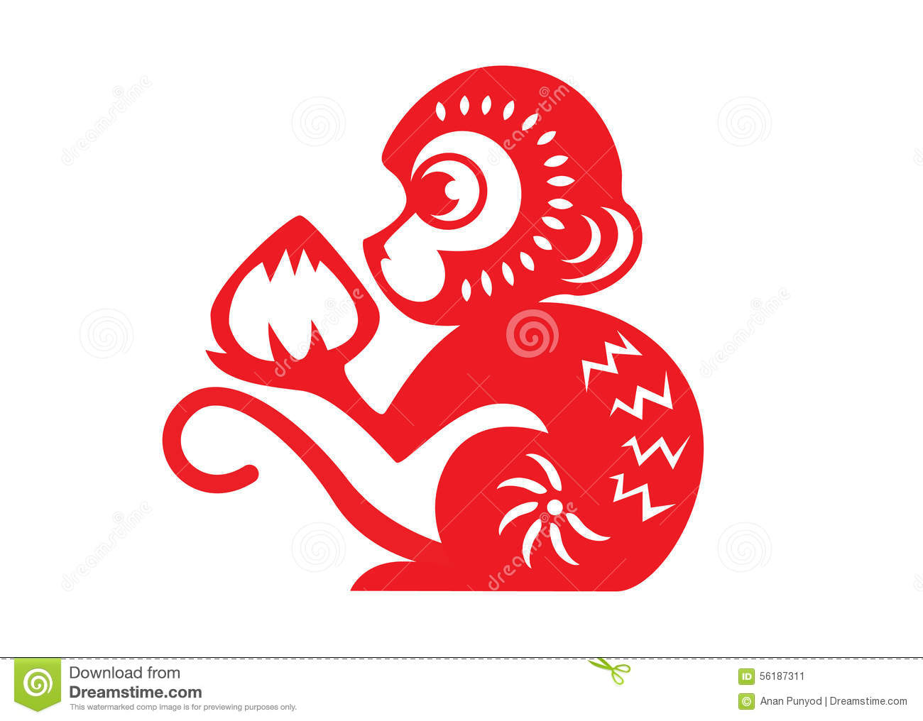 Monkey golden chinese zodiac stock photo image of animals red paper cut a monkey zodiac symbols monkey holding peach stock image buycottarizona Image collections
